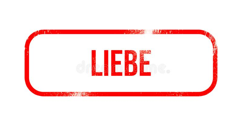 Liebe - red grunge rubber, stamp.  royalty free illustration