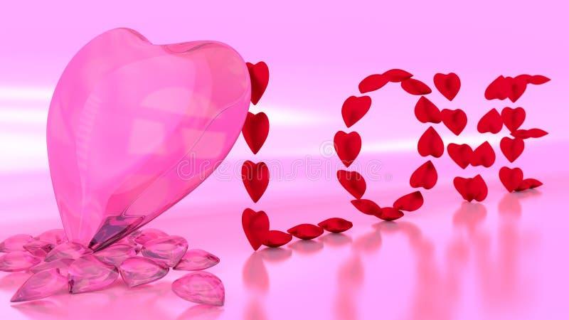 LIEBE rote Herz-Schmuck-Benennung auf reflektierendem Boden stock abbildung