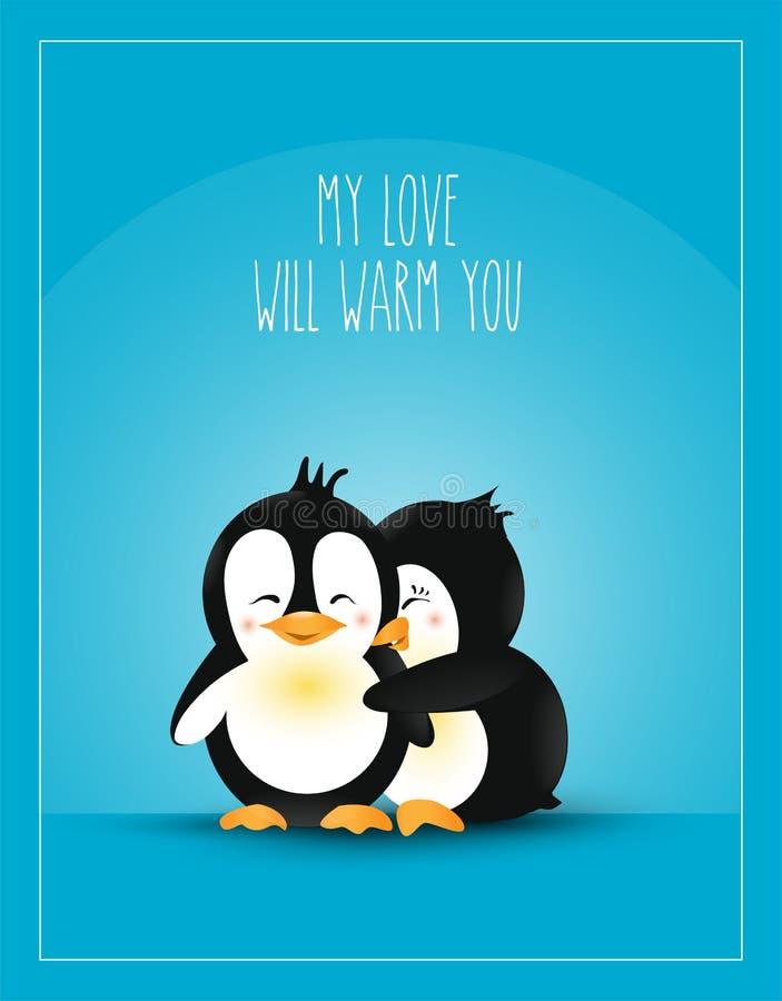 Liebe themenorientiert Postkarten-Design-Liebe Wärmen Sie Umarmungs-nette Karikatur-Pinguine Auch im corel abgehobenen Betrag vektor abbildung