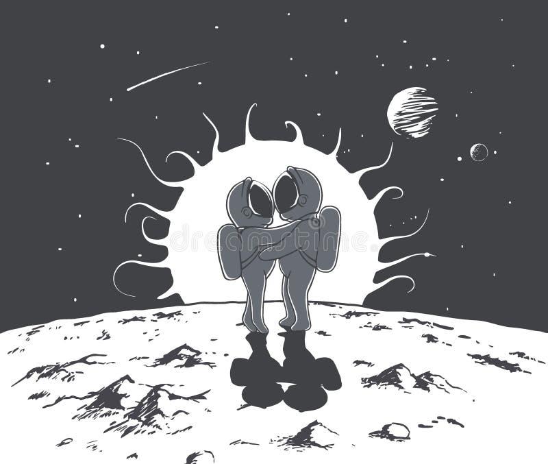 Liebe und Astronauten stock abbildung