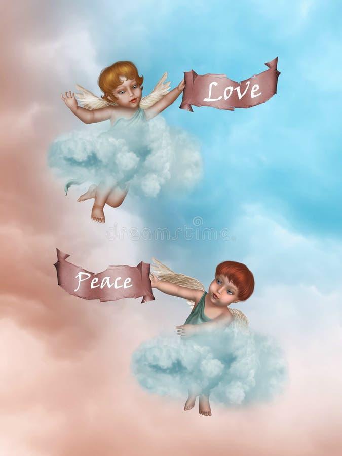 Liebe und Frieden stock abbildung
