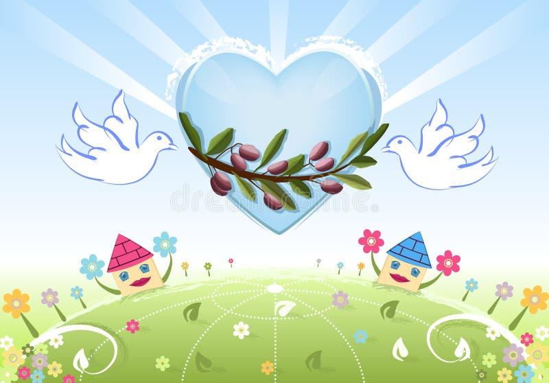 Liebe und Frieden zur Erde mit weißen Tauben vektor abbildung