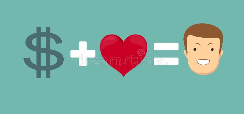 Liebe und Geld vektor abbildung. Illustration von geld
