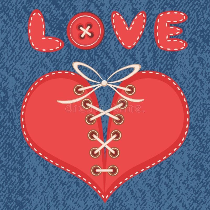 Liebe und Herz mit Jeanshintergrund stock abbildung