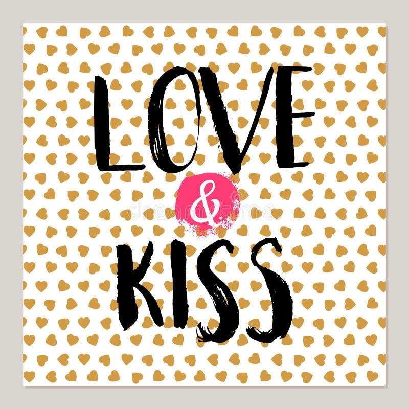Liebe und Kuss für Valentinsgrußkarten vektor abbildung