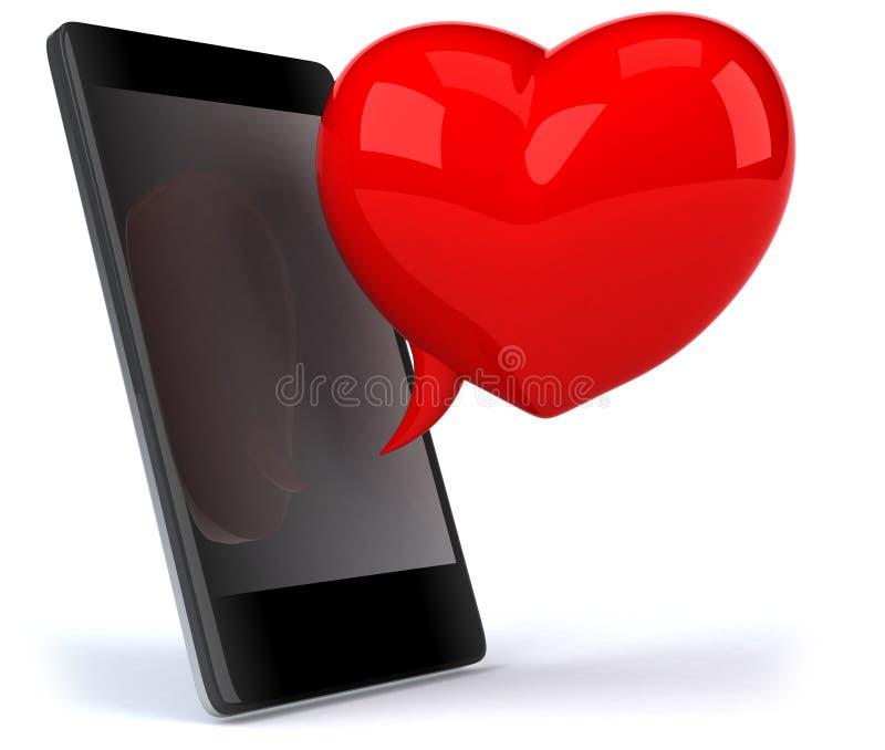 Liebe und smartphone lizenzfreie abbildung