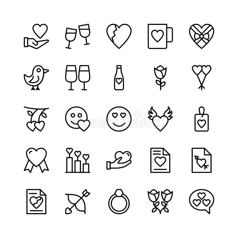Liebe und Valentine Line Vector Icons 12 vektor abbildung