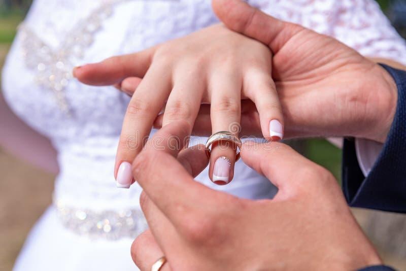 Liebe und Verbindung Die Braut mit einer Blume Schließen Sie oben vom Bräutigam, der goldenen Ring auf das bride& x27 setzt; s-Fi stockbild