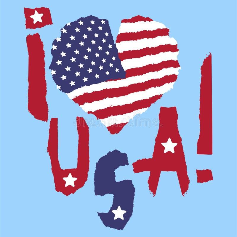 Liebe USA, Amerika Weinlesestaatsflagge im Schattenbild der Herz heftigen Papierschmutzbeschaffenheitsart Vektorabbildung, EPS10  lizenzfreie abbildung