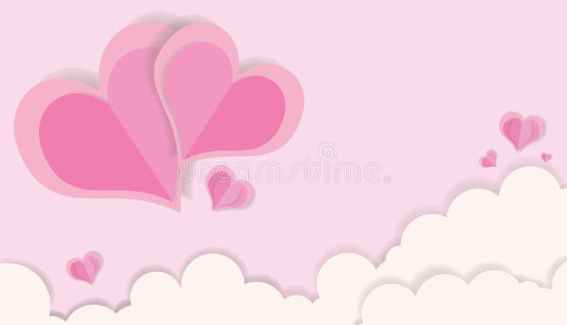 LIEBE - Valentinstag-Ausschnitt-Rosa-Farbpapier Herz-und Hochzeits-Karten-Konzept-Kunst lizenzfreie abbildung