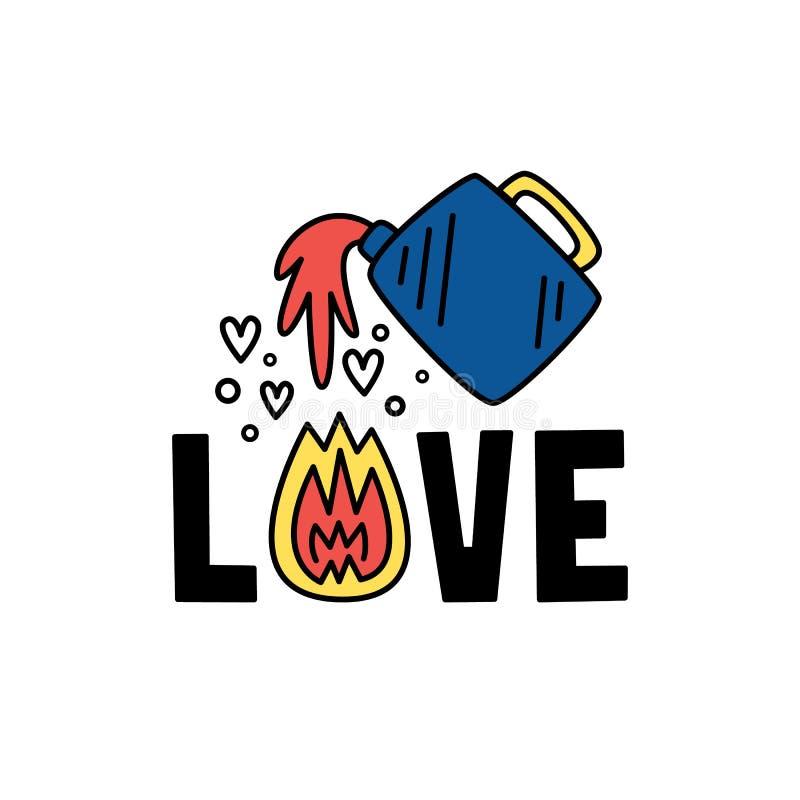 Liebe Vektorillustration mit Kanister und Flamme Die gezeichnete Hand, kritzeln Art Valentinsgruß `s Tag vektor abbildung