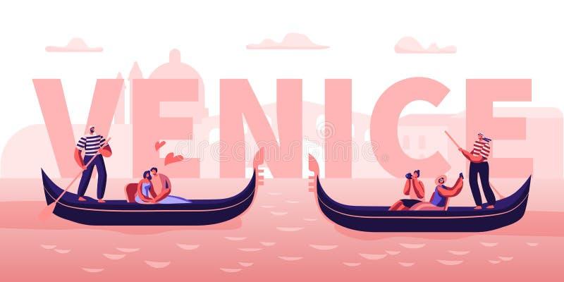 Liebe in Venedig-Konzept Glückliche Paare in den Gondeln mit den Gondolieri, die am Kanal, Umarmen, Foto machend schwimmen Romant vektor abbildung