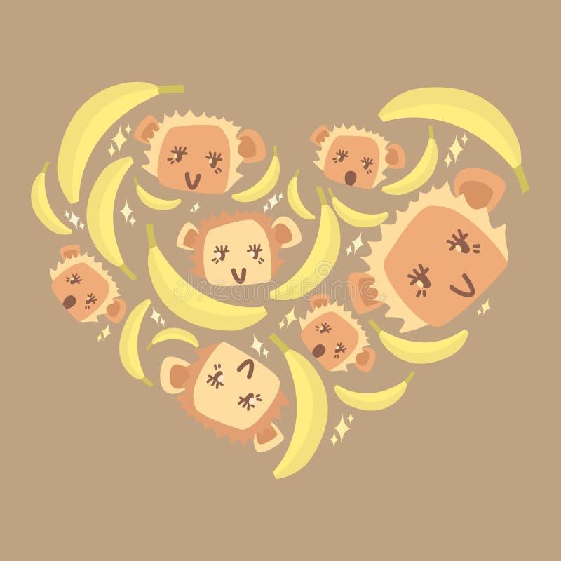Liebe von Bananen lizenzfreie abbildung