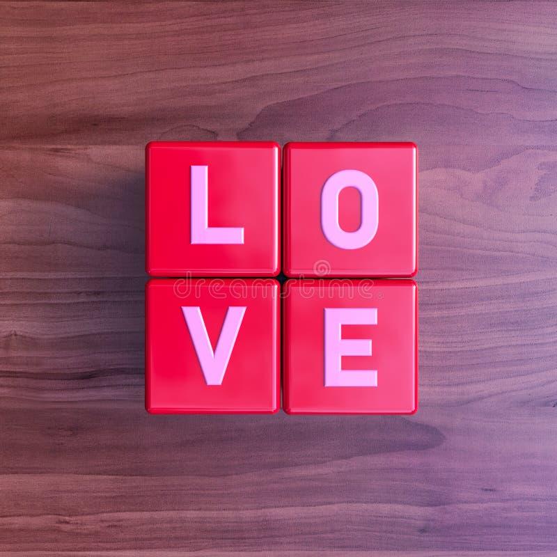 Liebe: Würfel mit Buchstaben auf Kirschholz stock abbildung