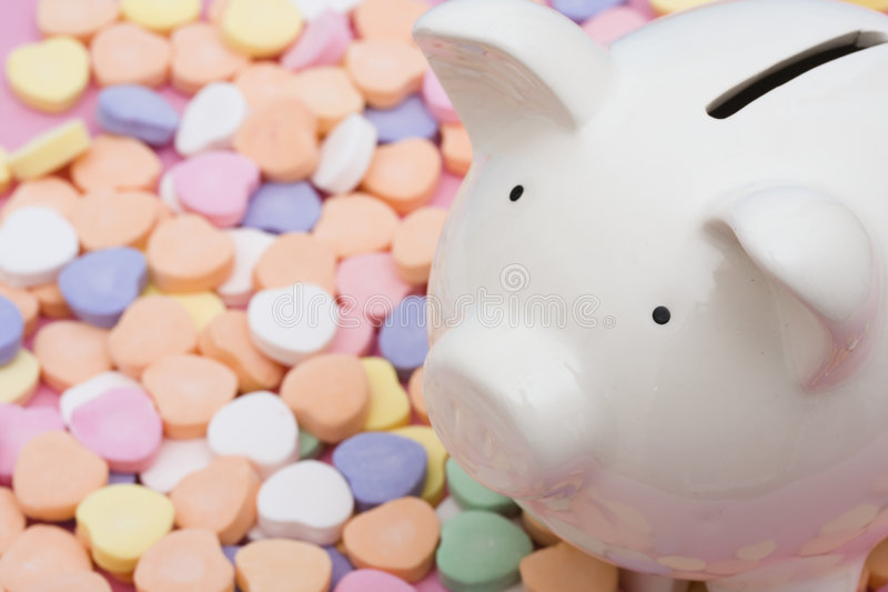 Liebe, zum des Geldes zu sparen lizenzfreie stockfotos