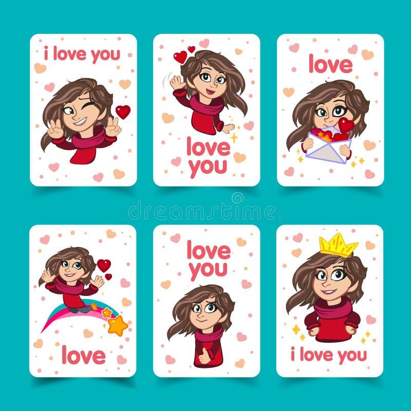 Lieben Sie Sie Beschriftungsschablone für mädchenhaftes T-Shirt Druckdesign Tagesgruß-Karte des Valentinsgruß-s Nettes Mädchen-Ze vektor abbildung