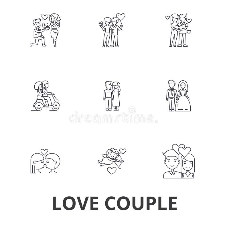 Lieben Sie die Paare, romantisch, das Liebesherz und küssen, Wellensittiche, glückliches Paar, Valentinsgrußlinie Ikonen Editable lizenzfreie abbildung
