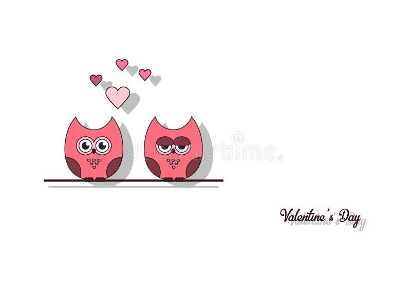 Lieben Sie Einladungskarte Valentinsgruß ` s Tag, tapezieren Sie Schnittminiherz, Schnitteulen, liebevolle Eulen, greller Glanz A stock abbildung