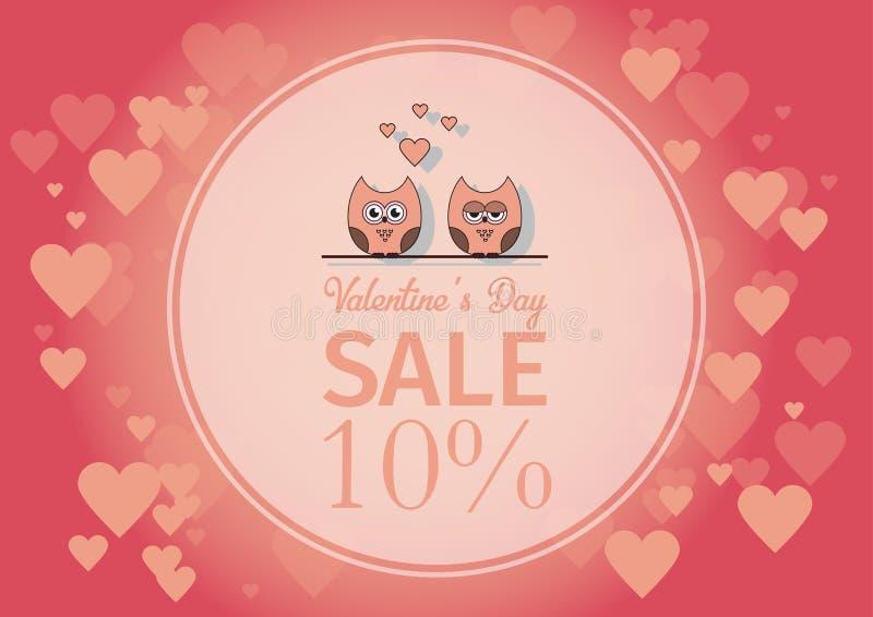 Lieben Sie Einladungskarte Valentinsgruß ` s Tag, tapezieren Sie Schnittminiherz, Schnitteulen, liebevolle Eulen, greller Glanz F vektor abbildung