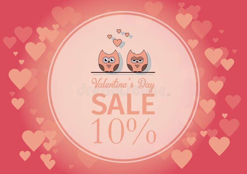 Lieben Sie Einladungskarte Valentinsgruß ` s Tag, tapezieren Sie Schnittminiherz, Schnitteulen, liebevolle Eulen, greller Glanz F lizenzfreie abbildung