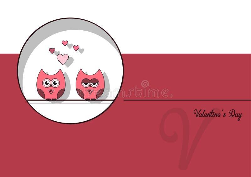 Lieben Sie Einladungskarte Valentinsgruß ` s Tageszusammenfassungshintergrund, tapezieren Sie Schnittminiherz, Schnitteulen, lieb stock abbildung