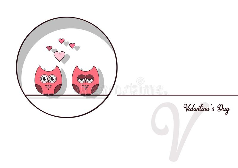 Lieben Sie Einladungskarte Valentinsgruß ` s Tageszusammenfassungshintergrund, tapezieren Sie Schnittminiherz, Schnitteulen, lieb vektor abbildung