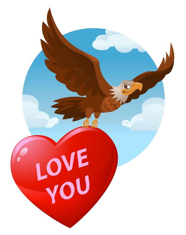 Lieben Sie Sie Fliegen-Weißkopfseeadler trägt ein großes Herz vektor abbildung