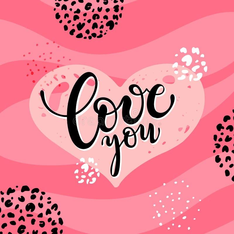 Lieben Sie Sie handgeschriebenes Beschriften, romantische Entwurfsschablone Valentinsgrußkarten-Vektorclipart vektor abbildung