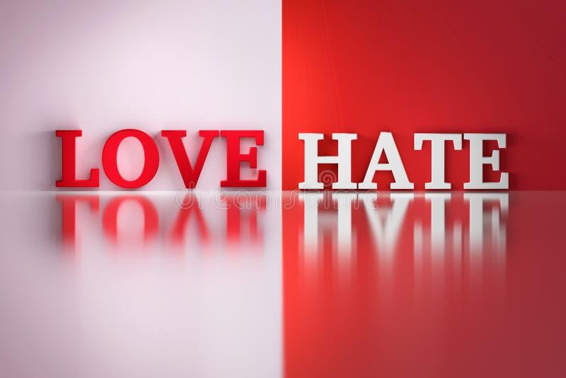 Lieben Sie Hasswörter in den weißen und roten Farben auf dem weißen und roten reflektierenden Hintergrund lizenzfreie abbildung