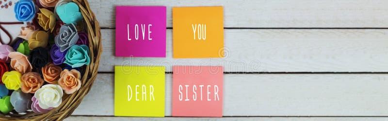 Lieben Sie Sie liebe Schwester lizenzfreies stockbild