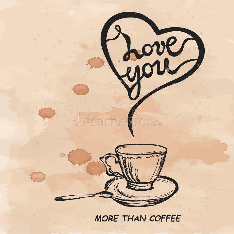 Lieben Sie Sie mehr als der Kaffeetext, der auf strukturiertem Hintergrund lokalisiert wird lizenzfreie abbildung
