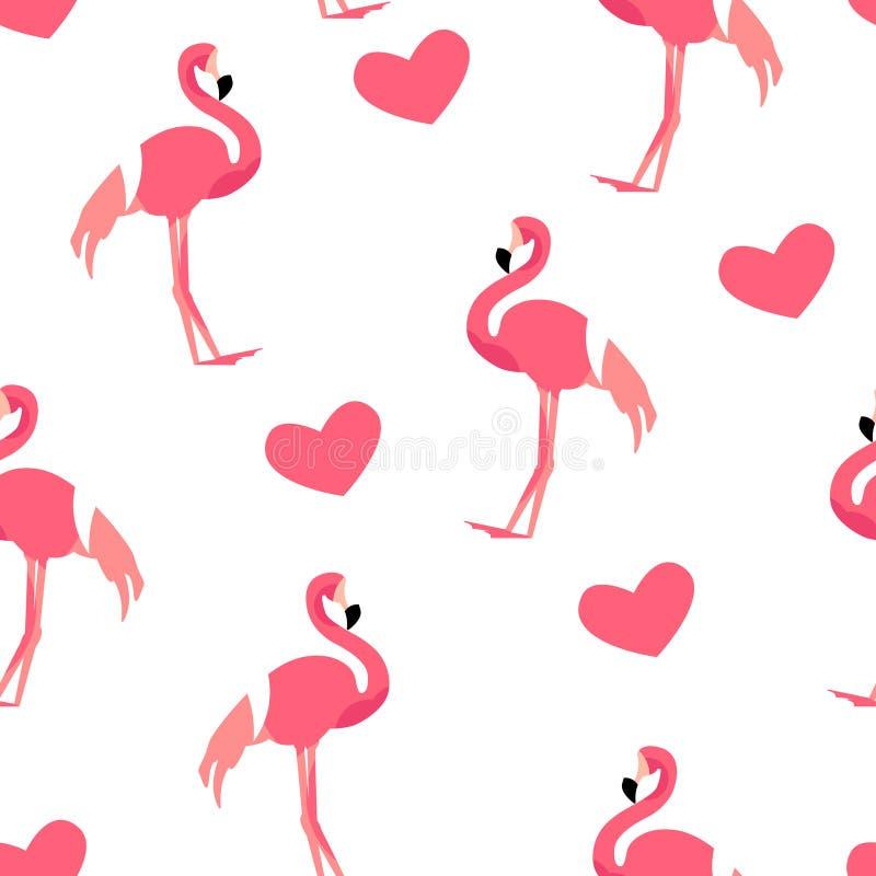 Lieben Sie Muster mit nettem Flamingo und Herzen auf weißem Hintergrund Verzierung für Gewebe und die Verpackung Vektor stock abbildung
