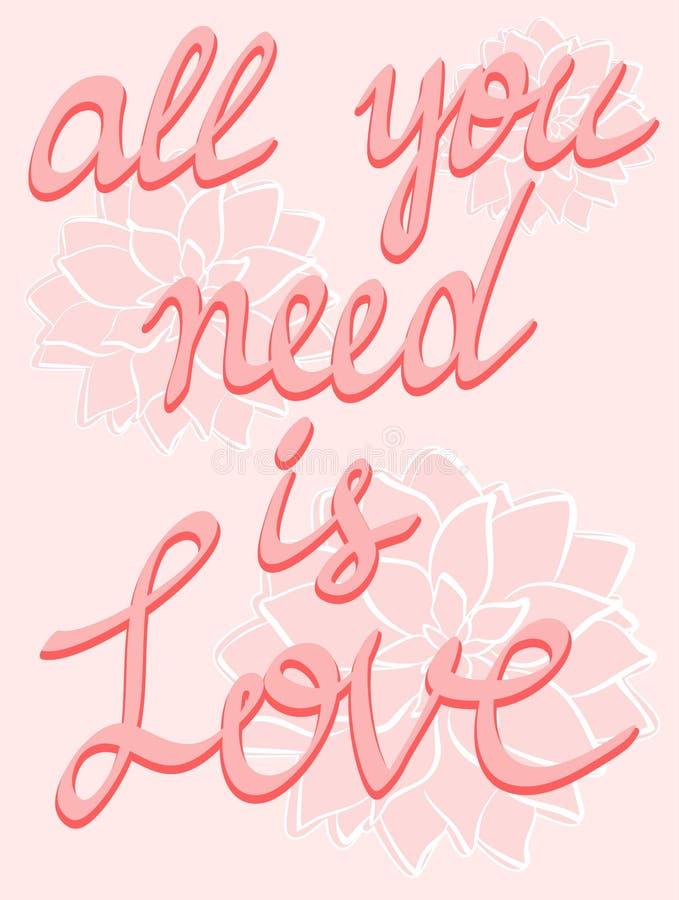 Lieben Sie schriftliche Kalligraphie des Plakat Beschriftungs-Plakats Hand auf Rosablumenhintergrund, inspirierend Zitatplakat stock abbildung