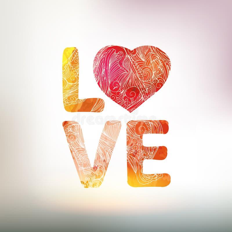 Lieben Sie Sie Aquarellvektorkarte mit Herz- und Grafikelementen lizenzfreie abbildung