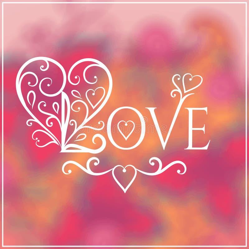 Lieben Sie Sie Text auf Blurred Hintergrund mit Blumen lizenzfreie abbildung