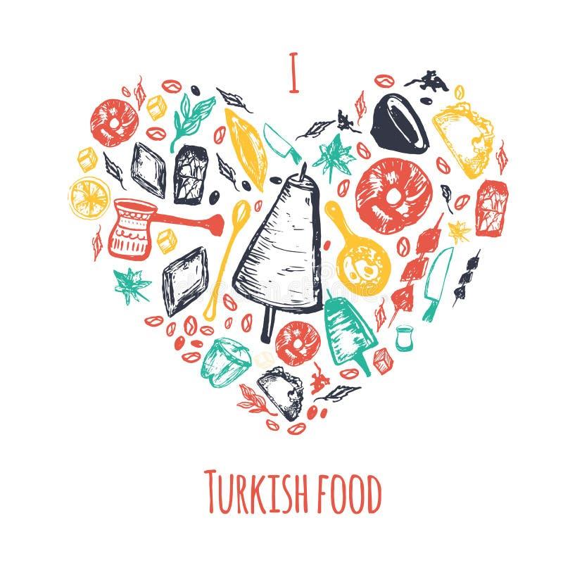 Lieben Sie Türkische Herz-Formfahne Des Lebensmittels Hand ...