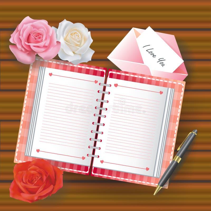 Lieben Sie Tagebuch mit Zeile und anderen Materialien stock abbildung