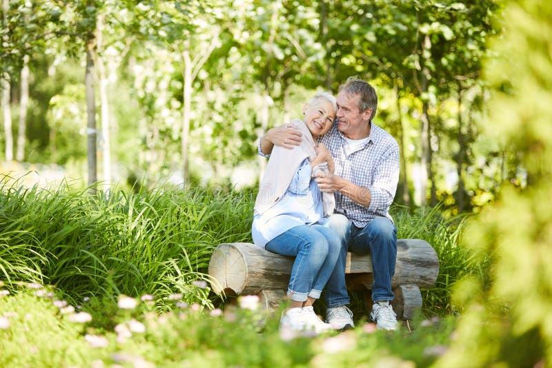 Liebende ältere Paare, die Datum im Park genießen stockfoto