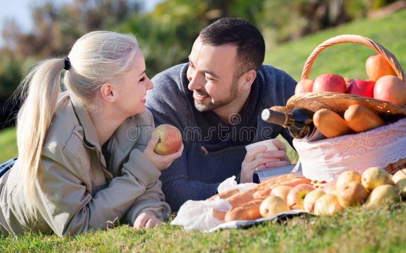 Liebende lächelnde Paare, die plaudern als, Picknick habend lizenzfreie stockbilder