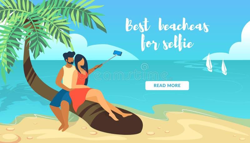 Liebende Paare, die auf der Palme macht Selfie sitzen vektor abbildung