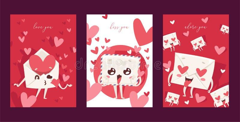 Liebende Post des reizenden Umschlagvektors liebte herzige verschickte Liebesmitteilungsbuchstabe küssende kawaii E-Mail Posten E stock abbildung