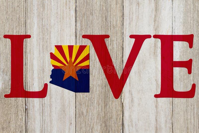 Liebes-Arizona-Mitteilung mit der Arizona-Staatskarte in den Arizona-Flaggenfarben stockfotos