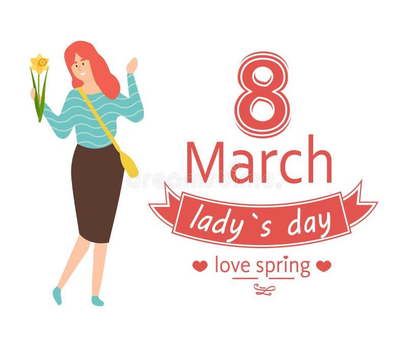 Liebes-Frühling, am 8. März Dame Day und Rothaarige-Frau vektor abbildung