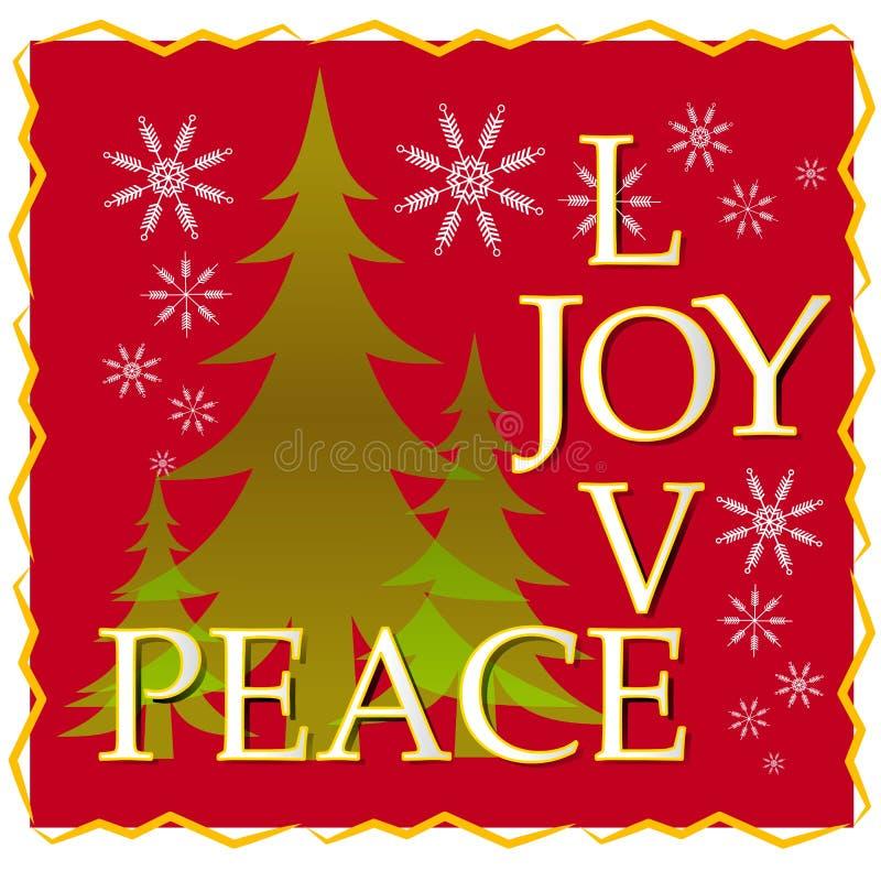 Liebes-Freuden-Friedensweihnachtskarte mit Baum und Schnee 2 stock abbildung