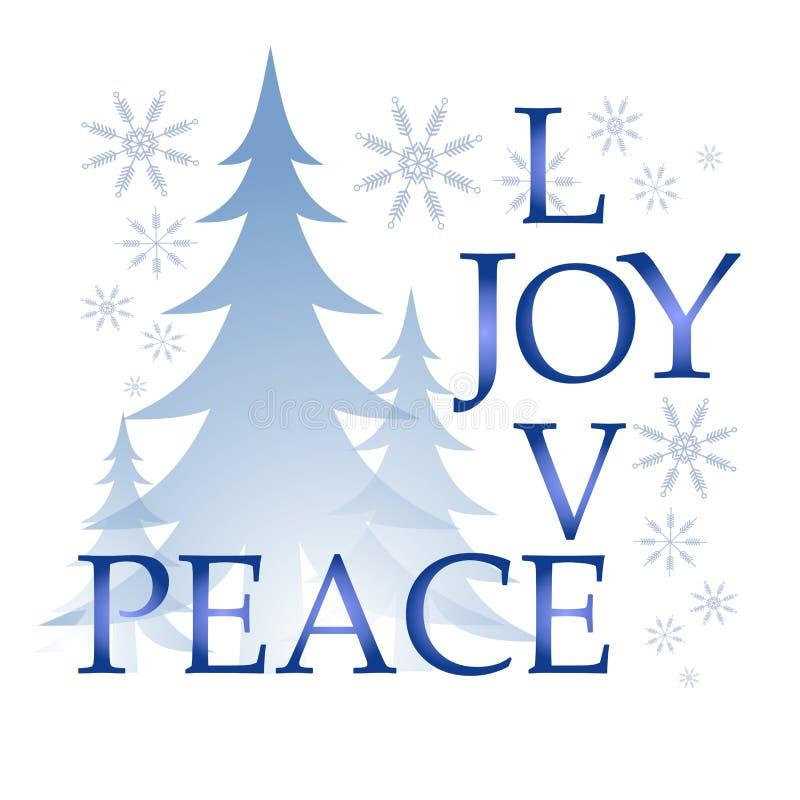 Liebes-Freuden-Friedensweihnachtskarte mit Baum und Schnee vektor abbildung