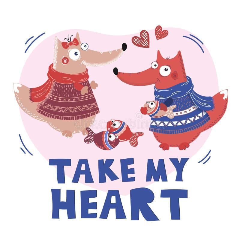 LIEBES-FUCHS Valentine Cartoon Animal Set stock abbildung