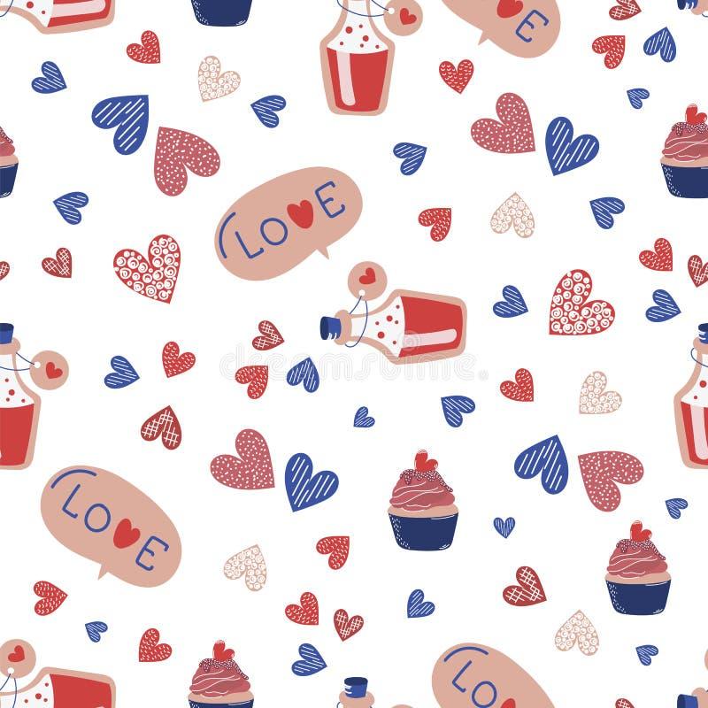 LIEBES-GETRÄNK Valentinstag-nahtloses Muster stock abbildung