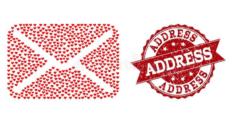 Liebes-Herz-Collage der Buchstabe-Ikone und des Schmutz-Wasserzeichens lizenzfreie abbildung