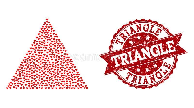 Liebes-Herz-Collage der gefüllten Dreieck-Ikone und der Gummidichtung lizenzfreie abbildung