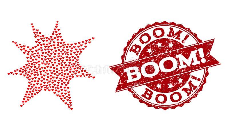 Liebes-Herz-Komposition der Boom-Spritzen-Ikone und der Grunge-Dichtung lizenzfreie abbildung